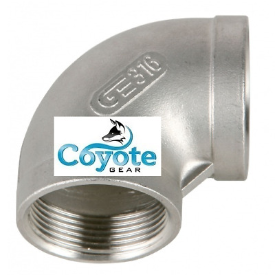 "3/8"" NPT 316 Stainless Steel Elbow 90 Degree Female Pipe Thread Coyote Gear SS"