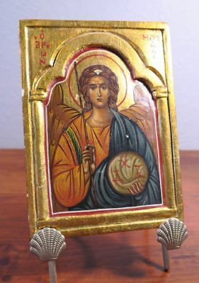 Vintage Religious Russian or Greek Orthodox Painted Icon on Wood