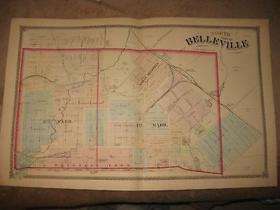 Antique 1874 North Belleville City St Clair County Illinois Handcolored Map Rare
