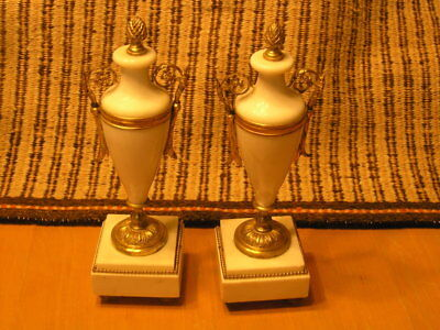 Detailed Footed Pair Antique Gilt Metal Mounted Marble Urns 12 inches Tall