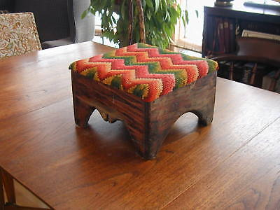 Fabulous Early/Old Country Primitive Foot Stool, Bench w/Gorgeous Flame Stitch