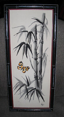 Vintage 1960's Original Water Color Painting of Bamboo and a Butterfly in Frame