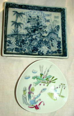 United Wilson 1897 Porcelain Hand Painted Cupid & Bele Bachen Airplane Dish/Tray