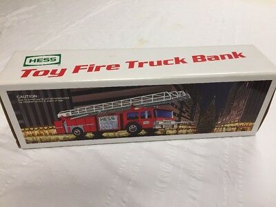 Vintage 1986 Hess Toy Fire Truck Bank Mint In Box
