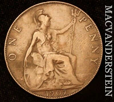 Great Britain: 1907 One Penny- No Reserve !! Scarce !! #y587