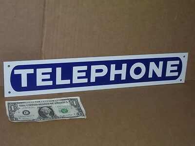 "TELEPHONE - Long Narrow -- 3"" Tall X 17"" Long -- TIN SIGN - Fits in Small Places"