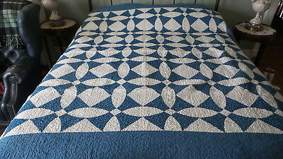 """Antique Vintage QUILT Calico Blue and White, 78""""x78"""", Machine Quilted"""