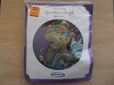 Semco 6000.05~Guardian Angel~Long Stitch Kit~28cm Round~Complete~Unworked