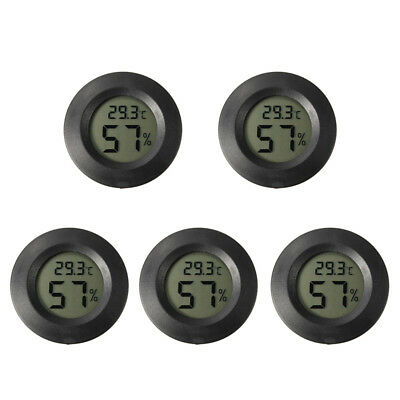 5Pcs Digital Cigar Humidor Hygrometer Thermometer Temperature Round Black Face