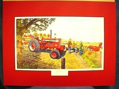 """Russell Sonnenberg International Tractor  Print """"perfect Day"""" - Matted - Signed"""