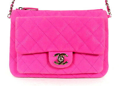 5c734f1320e52a CHANEL HOT PINK Quilted Matte Caviar DAILY ZIPPY Flap Crossbody Bag ...