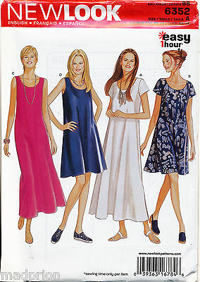 New Look Sewing Pattern 6352 Misses 8-18 Easy 1-Hour Flared Swing Dress & Maxi