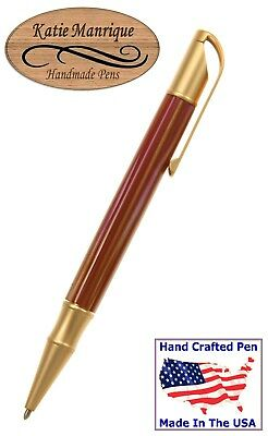 Twist Action Ballpoint Pen with Acrylic Body and 22ct. Gold Hardware / #482