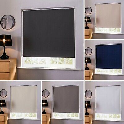 100% Thermal Blackout Window Roller Blinds Made To Measure Up to 240cm x 160cm