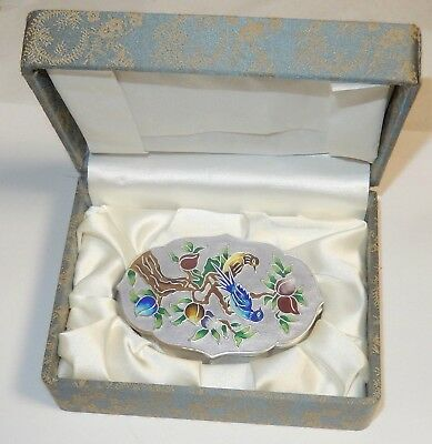Pure 99% Silver Korean Cloisonne Enamel Birds Jewelry Trinket Jar Box