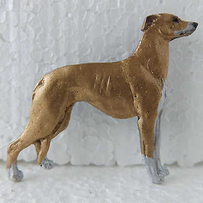 Greyhound Fawn White Brooch Dog Breed Jewellery Handpainted Handcrafted Resin