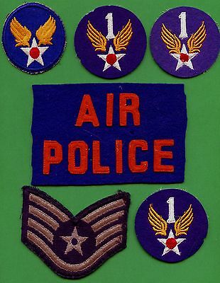 Lot Of 6 WW2 United States Air Force & Air Police Patches