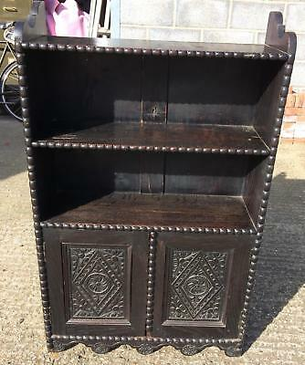 Antique carved stained ebonised? oak shelves cupboard Victorian Gothic bookcase