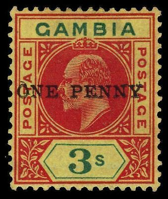 """GAMBIA 66a (SG70a) - King Edward VII """"Double Surcharge Error"""" (pf31295xb)"""