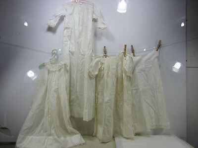 3 Antique Crocheted Edge Long Baby Gowns & 1 Under Slip