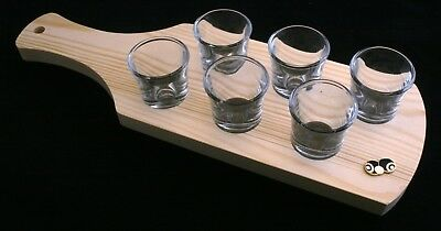 Bowls & Jack Black Enamel Set of 6 Shot Glasses Wooden Paddle Tray Holder 040
