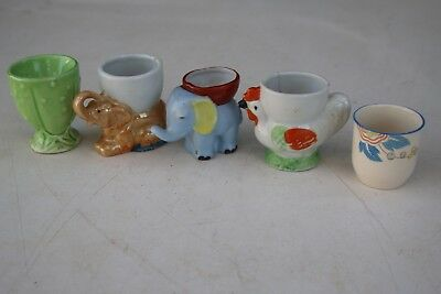 5 x Vintage Retro 60's Japanese Ceramic Novelty Egg Cups - 1 x Royal Doulton
