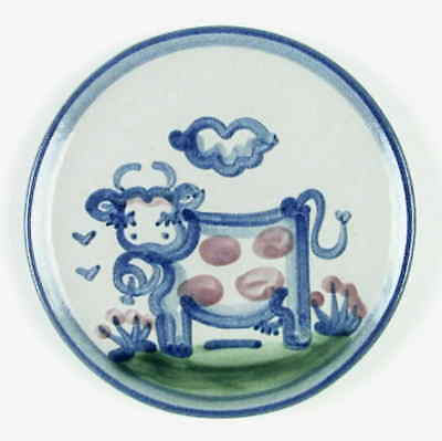 M A Hadley COUNTRY SCENE BLUE Cow Bread & Butter Plate 5813573