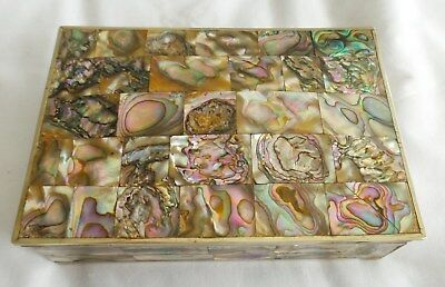 Vintage Alpaca Abalone Box Hnged Signed Heckeon Mexico