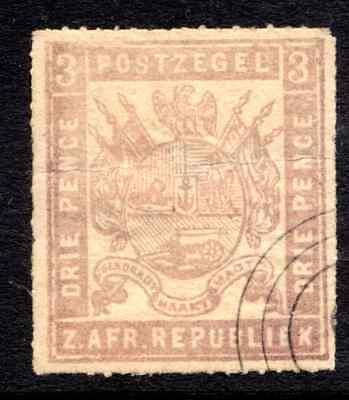 TRANSVAAL  3d  ROULETTED FINE USED  cat. £70