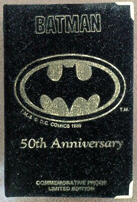 BATMAN 1989 DC COMICS 50th ANNIVERSARY 999 Troy SILVER COIN in CASE + Booklet