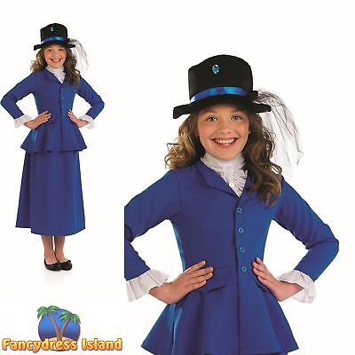 Victorian Mary Poppins Nanny Book Day Childs Kids Girls Fancy Dress Costume