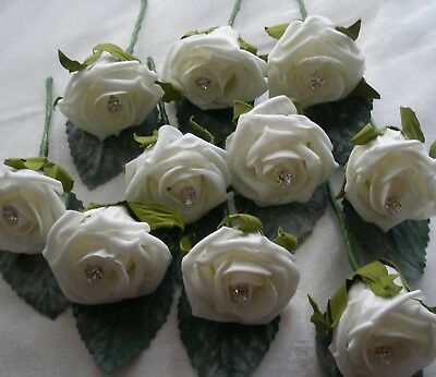 100 Ivory Diamanate Centered Buttonholes - Wedding Flowers Guest Best man Groom