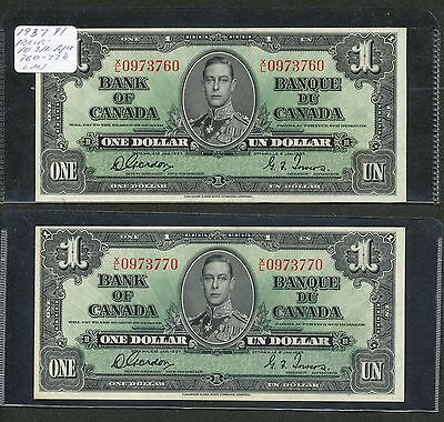 Pair of 1937 $1 Bank of Canada banknotes. CUNC, ten numbers apart. BC-21c.