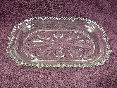 """Vintage Clear Glass Dish Serving Tray Crystal Beaded Edge 9"""" X 6 1/4"""""""