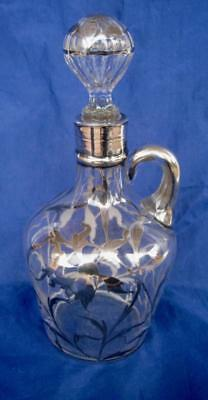 """Antique Art Deco Decanter w/Stopper Clear Glass w/Silver Overlay Deposit 10.25"""""""