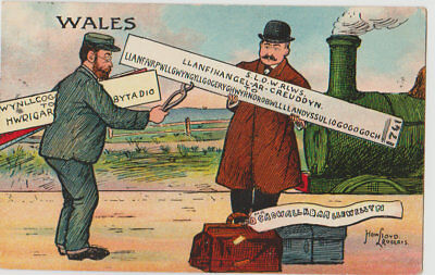 Early Comic Postcard Wales With Steam Tram