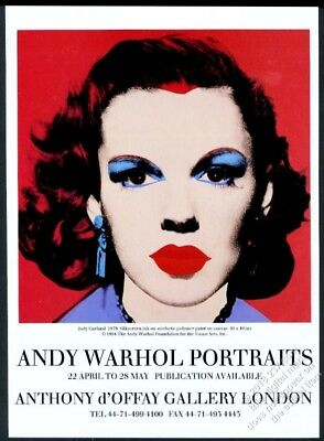 1994 Judy Garland portrait by Andy Warhol London gallery show vintage print ad