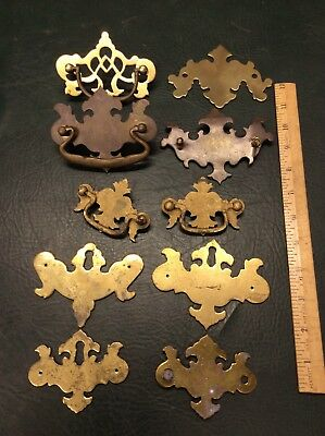 Mixed Lot of 10 Vintage and Antique Brass Drawer Pulls Escutcheons