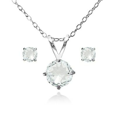 Round Solitaire Aquamarine Necklace & Stud Earrings Set in Sterling Silver