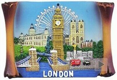 London Tower Bridge,Eye,Bus,Big Ben,St.Pauls,Poly Magnet,Souvenir GB