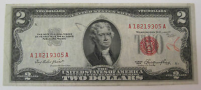1953 Two Dollar red seal United States Note Currency (#89o)
