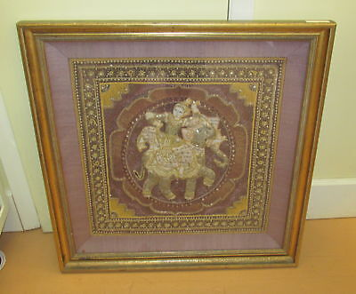 """Indian Elephant with Rider Embellished Embroidery 30"""" x 30 1/2"""" Framed"""