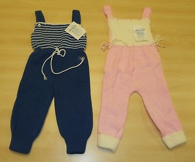 2 x VINTAGE 1970's UNWORN BABIES KNITTED DUNGAREES ASSORTED COLOURS (PATTERN D)