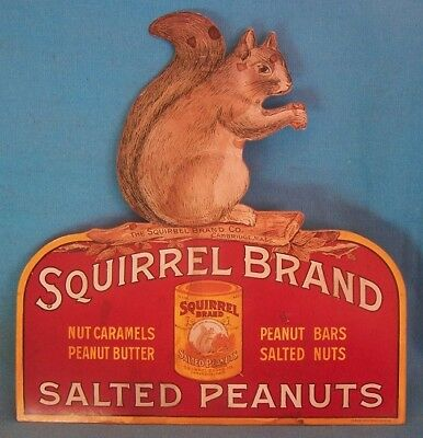 Antique Vintage SQUIRREL BRAND SALTED PEANUTS SIGN