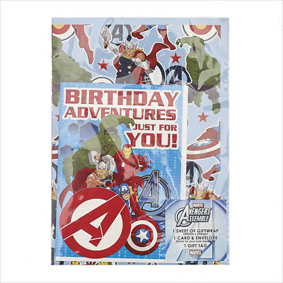 Avengers Birthday Card & Wrapping Paper Set Pack Includes Card, Wrap & Tag