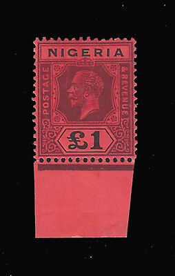 Nigeria stamps 1917 GV ₤1 Red & black Ty II (SG 12b) ₤275 / $365