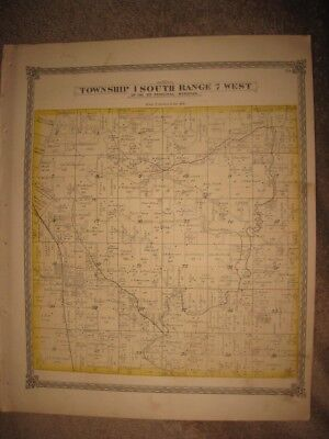 Antique 1874 Fayetteville Township Freeburg St Clair County Illinois Handclr Map