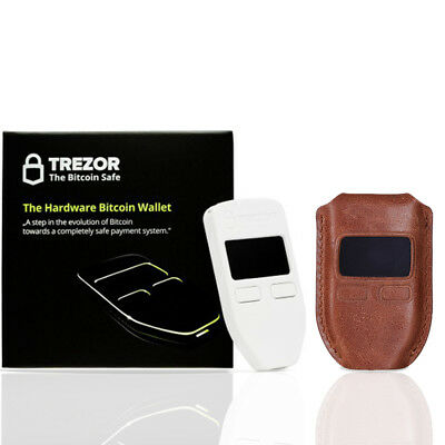 Trezor White Hardware wallet for secure LTC ETH Zcash BCH w/ Brown Leather case