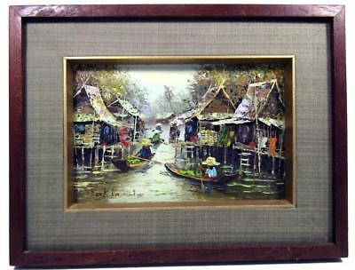 Oil on Canvas Asian Fishing Village Hand Painted 1970's Karutz 31.5 x 24 cm