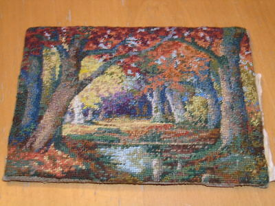 Antique Small Very Fine & Colorful Home Brewed Embroidery Landscape Fall Colors